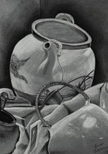 Charcoal pots and cloth